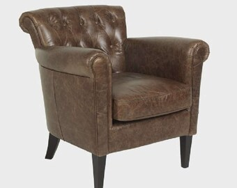 Luxury chairs Chester Italian High Quality Leather Texas Brown