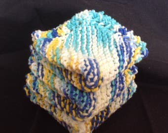 Knitted Dishcloths Set of 3 - Ancors Away Ombre