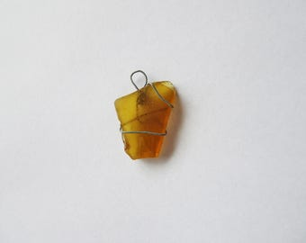Amber Sea Glass Pendant | Wire Wrapped Sydney Seaglass | Sea Glass Jewellery | Australian Seaglass