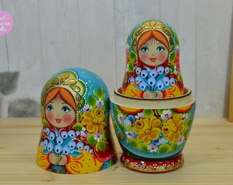 Matryoshka, Gift for daughter, Handpainted russian nesting dolls with lily of the valley, Gift for woman, Wooden babushka, Russian folk art