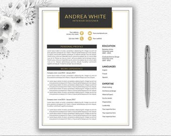 Admissions Counselor Resume Word Gold Resume  Etsy How To Make A Resume For Teens with Help With Resumes Pdf Black And Gold Resume Template  Cover Letter  Modern Resume Editable In  Word  Digital Sample Nursing Resumes Pdf