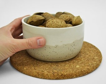 Ceramic bowl in white and speckled clay. Ceramic serving bowl. White ceramic tableware. Minimalist home decor. Cereal bowl. Minimal ceramics