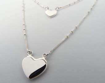 925 Silver necklace with heart pendant | Layered look