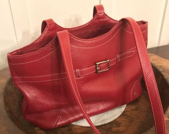 Vintage Wilson's Leather Pelle Studio Red Pebbled Leather Handbag with Skinny Belt Detail