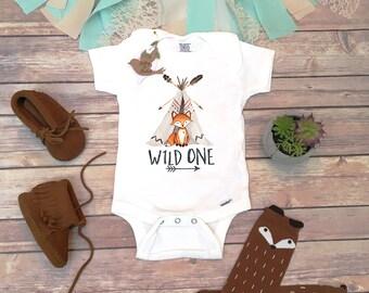 First Birthday Boy, Wild One Onesie®, Fox Birthday Shirt, Woodland Birthday, First Birthday Outfit Boy,Woodland Fox Birthday Party One Shirt