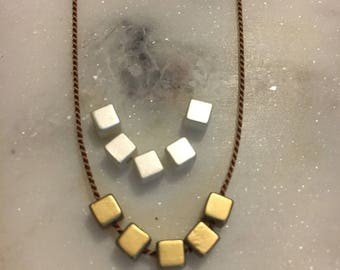 Boho Silk Cube Chocker/Stacking Necklace