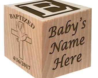 Catholic Gifts - Christening Bracelet - Baptism Gift Ideas - Custom Engraved wooden baby blocks for newborn girl newborn boy