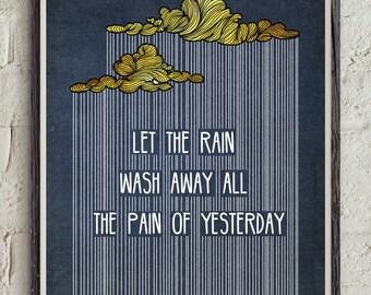 Lyrics Quote - Digital Download Art - Rain Quote - Inspirational Print - Song Printable - Music Poster - Song Lyrics Wall Art - Gold Print