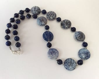 Blue Weathered Agate and Sodalite Statement necklace