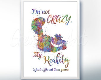 Disney Alice in Wonderland Cheshire Cat Quote [1] Watercolor Poster Print - Watercolor Painting - Watercolor Art Kids Decor Nursery Decor