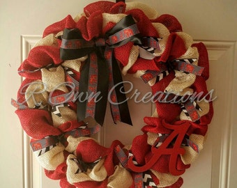Burlap Alabama Wreath