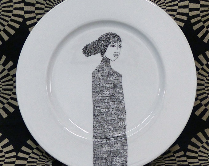 Featured listing image: Hand painted porcelain collection plate  - Pensive woman 1
