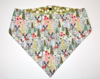 Reindeer Forest II/Poinsettias, Reversible Dog Bandana, Snap Closure Bandana