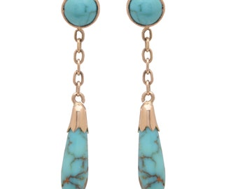 Antique 14 KT. Yellow Gold and Turquoise Baton drop Earrings