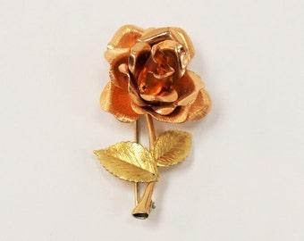 Krementz Rose Pin - Costume jewelry - Pink and Yellow Metal