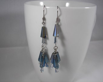 Blue glass with iridescence dangle earrings