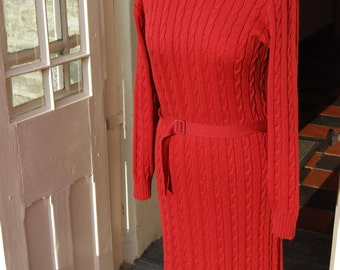 Vintage 1990s red Jaeger cable knitted woollen dress