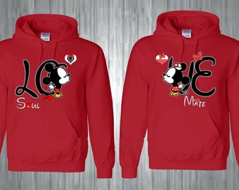 Mickey & Minnie Love design soul mate Couple hoodies