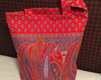 Red and Blue Paisley Market Tote