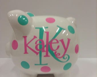 Personalized Piggy Bank-Piggy Bank-childrens piggy bank- Girls-Kid's Monogrammed Piggy Bank- Kid's personalized Piggy Bank-Gift
