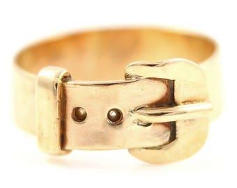 Vintage 9ct Rose Gold Wide Buckle Ring- 6mm