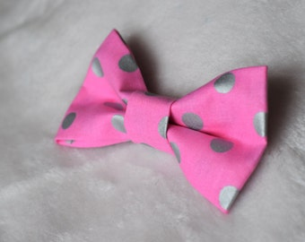 Pink & Silver Polka Dot Collar Bow for Dogs