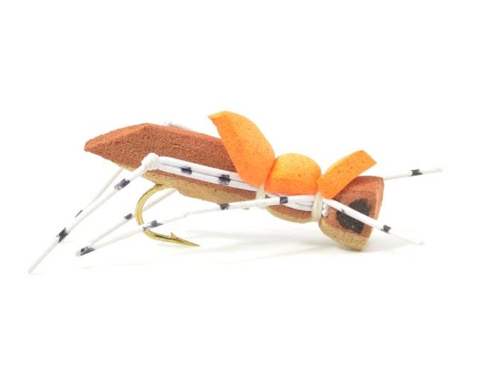 Hand Tied Trout Flies: Morrish Hopper Foam Body Grasshopper Dry Fly - Brown/Tan Body - Hook Size 10