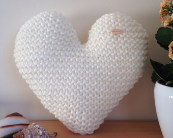 Handmade Hand Knitted Cream Heart-Shaped Decorative Cushion