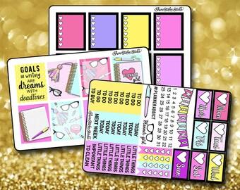 Adorable Planner Girl Weekly Sticker Kit - Vertical Planner Stickers Erin Condren Life Planner  ECLP