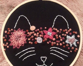 Cat flower crown embroidery 5 inch hoop