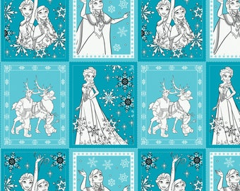 Teal Disneys Frozen Colouring Cotton Fabric