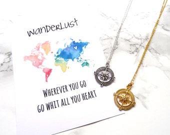 Compass necklace, wanderslust compass necklace, graduation jewelry, dainty minimalist necklace, simple travel jewelry, fine globe necklace