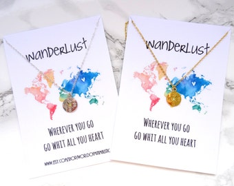 Wanderlust necklace, simple compass necklace, wanderlust jewelry, travel jewelry, dainty wanderlust necklace,best friends gift, BFF gift