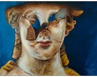 Gemälde »Beschädigter Kopf einer Statue« (Öl auf Leinwand, 40,0x30,0 cm)