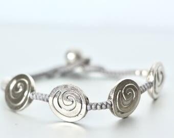 Bohemian Bracelet,Silver Bracelet, Gypsy Soul Jewelry,  Silver Charm Bracelet, Bridesmaids Bracelet, Gift Ideas, Beach Bracelet B113