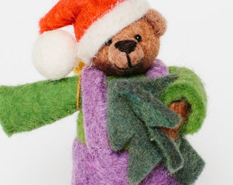 Felt Christmas Bear, Felt Bear, Fair Trade Ornament, Felt Ornaments, Christmas Ornaments, Beary Christmas, Felt Christmas Ornament, Bear