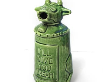 """Vintage Lugenes Ceramic Cow Creamer """"I'll Give You Cream"""" Made in Japan"""