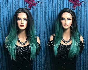 Green Ombre Longer Roots  Straight Human Hair Blend Swiss Lace Front Wig