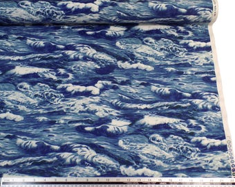 Sea Ocean Waves Blue White 100% Cotton High Quality Fabric Material *2 Sizes*