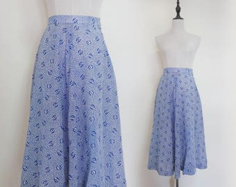 Navy Blue Floral Pattern High Waist Pleated A-Line Vintage Midi Women Skirt