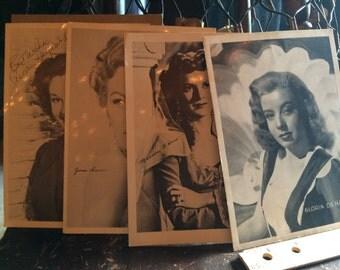 Set of 4 1950's Hollywood Memorbilia Movie Starlet Fan Club 5x7 High Gloss Autographed Pre Print