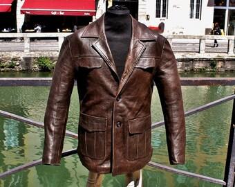 Original brown leather jacket vintage leather years 70 sz 50