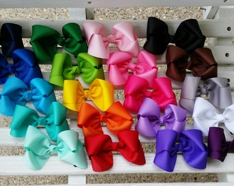 20- Plain Colored Twisted Boutique Hair Bows (5 inch)