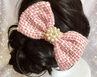 Hair clip, Pink ribbon with pearl romantic