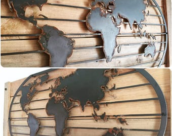 Rustic Metal World Map
