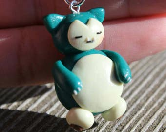 green/blue creature charm, polymer clay charm, clay charm, handmade charm