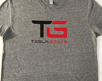 Tesla Geeks mens t-shirts , heather gray with red and black
