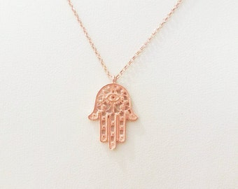 Hamsa Necklace / Hand Of Fatima Pendant / Protection Necklace / Hamsa Hand Necklace / Good Luck Charm / Sterling Silver / Rose Gold Plated