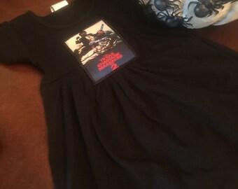 Black cotton dress with adorable Texas Chainsaw Massacre 2 Patch!