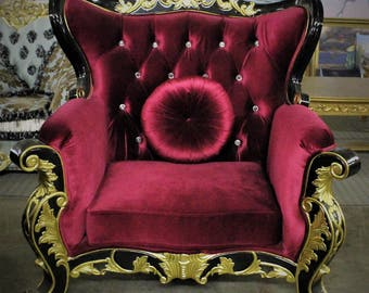 GORGEOUS!!!  Versace Style Unique Raspberry Velvet Supersized Throne Chair